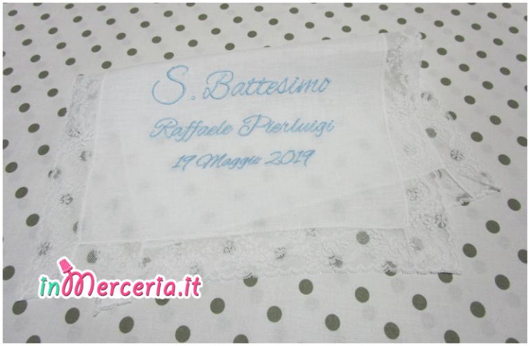 """Asciugamano in lino con valenciennes per il battesimo di """"Raffaele Pierluigi"""""""