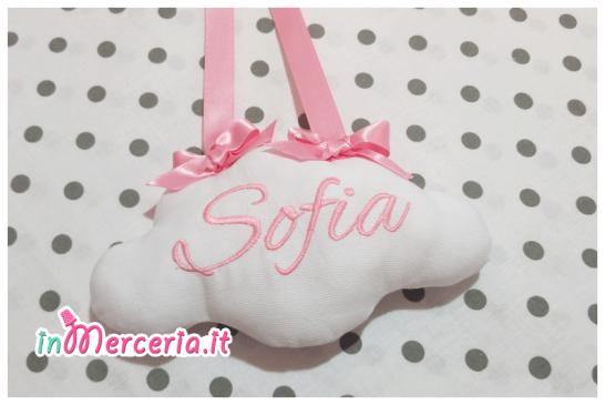 """Fiocco nascita cicogna rosa """"È nata"""" con nuvola per Sofia"""