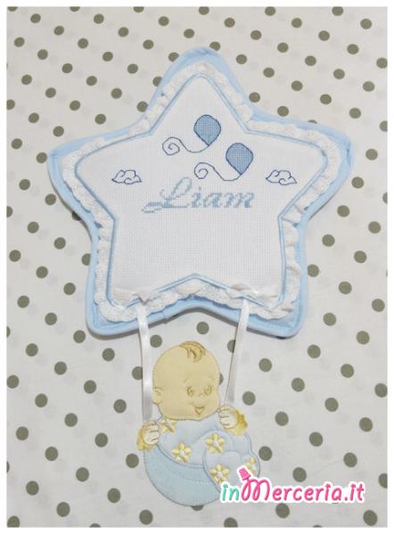Fiocco nascita stella celeste per Liam