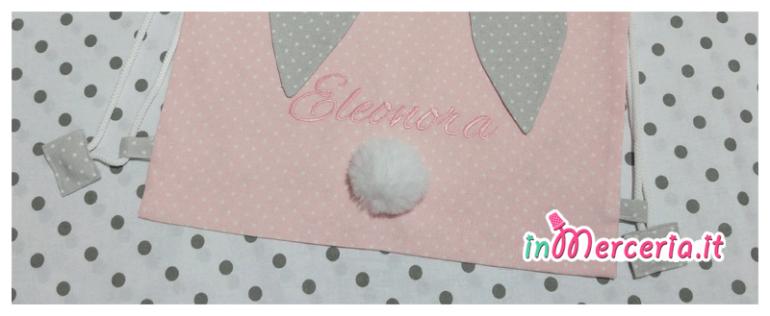Sacco zaino con orecchie di coniglio per Eleonora