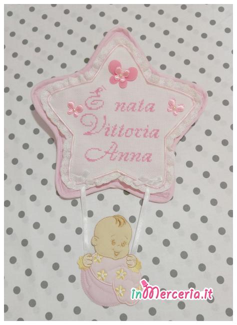 Fiocco nascita stella rosa È nata Vittoria Anna