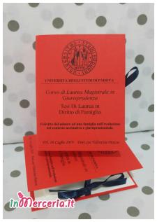 """Bomboniere portaconfetti a forma di libro per Laurea Magistrale in Giurisprudenza della """"Dott.ssa Pinton"""""""
