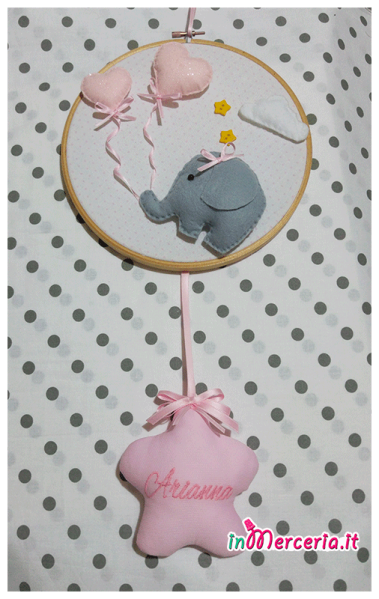 Fiocco nascita con elefantino e stellina per Arianna
