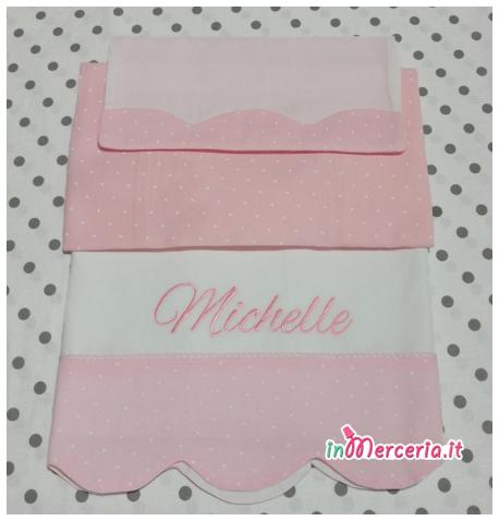 Set nascita - Lenzuolino, accappatoio, copertina e sacchetto trapuntato per Michelle