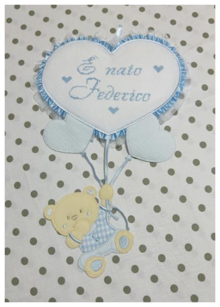 """Fiocco nascita con orsetto su palloncini cuore """"È nato Federico"""