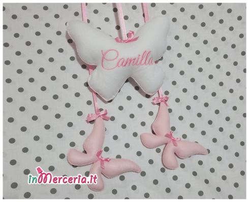 """Fiocco nascita farfalla con farfalline per """"Camilla"""""""