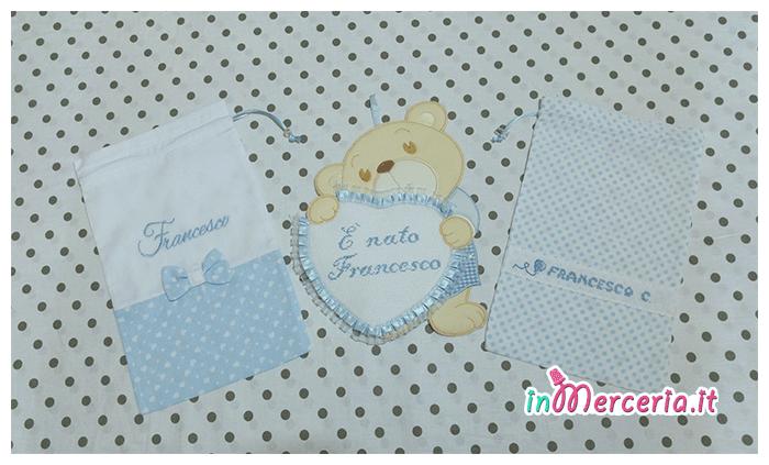 Fiocco nascita orsetto con cuore e sacchetti nascita e asilo per Francesco