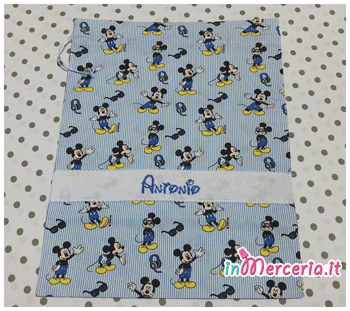 Set asilo Topolino Mickey Mouse – Sacchetto, asciugamano, e bavetta per Antonio