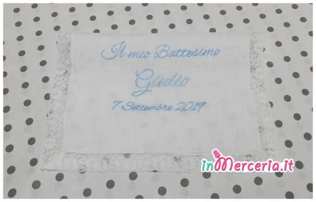 """Asciugamano in lino con valenciennes per il battesimo di """"Giulio"""""""