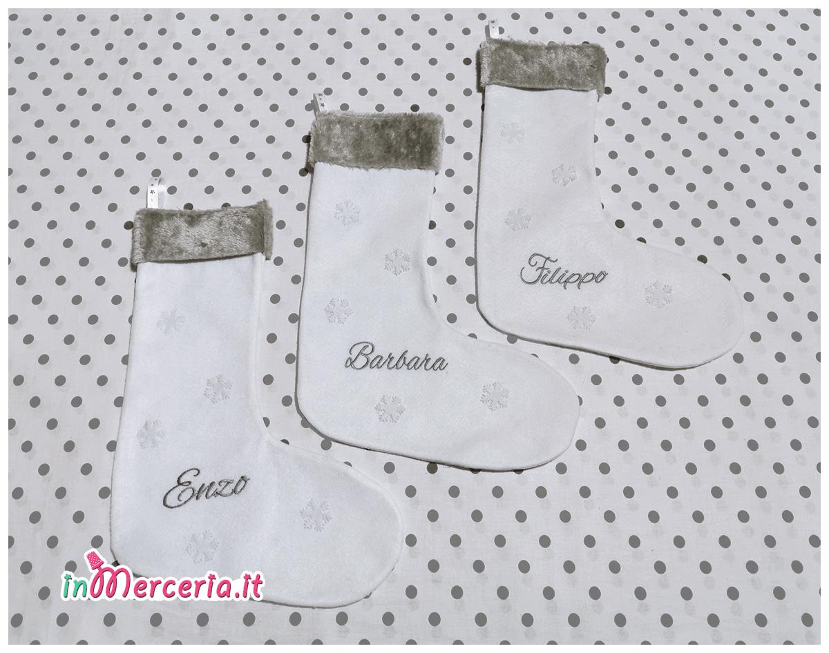 Calze della befana bianca per Filippo, Barbara e Enzo
