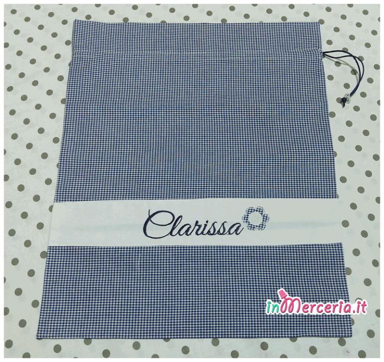 Sacchetto e sacchettino nascita e asilo quadrettato blu per Clarissa