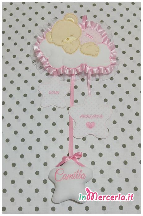 """Fiocco nascita rosa orso su nuvola """"Sono arrivata"""" per Camilla"""