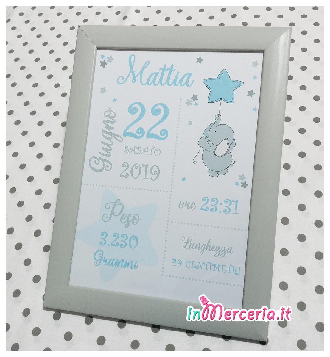 """Poster quadretto nascita con elefante per """"Mattia"""""""
