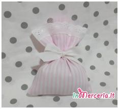 Sacchetti bomboniera portaconfetti rigati rosa