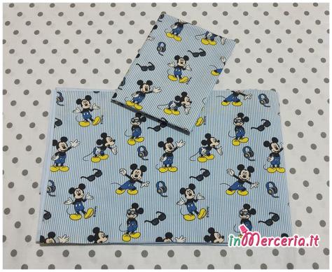Set nascita neonato- Coordinato lettino con topolino, sacco trapuntato con orsetto e coprifasciatoio per Mattia
