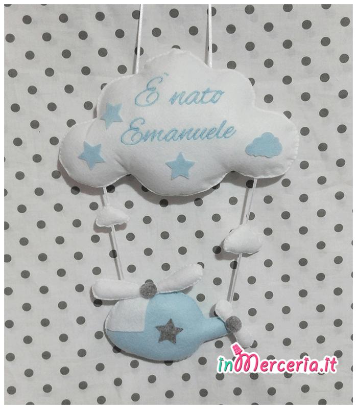 Fiocco nascita elicottero con nuvola È nato Emanuele