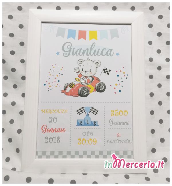 Poster quadretto nascita con topolino su macchina per Gianluca