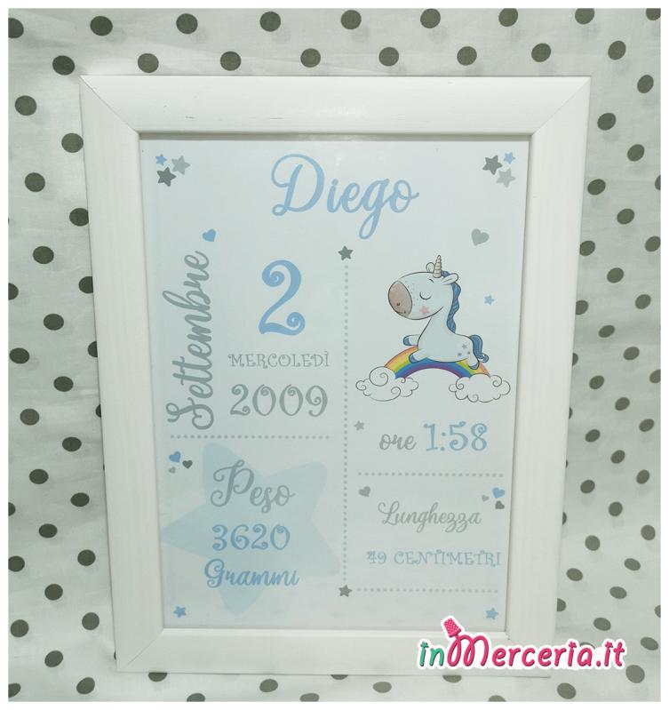 Poster quadretto nascita con unicorno per Diego e Fiamma
