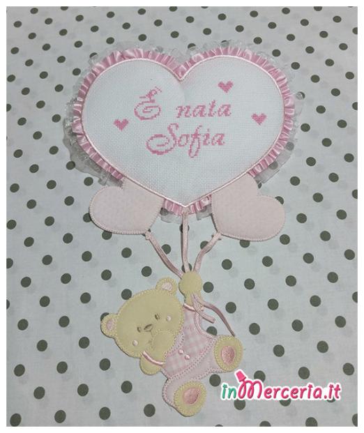 Set nascita - Fiocco nascita con palloncini cuore, fascia capelli e bavette per Sofia
