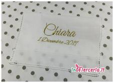 """Set nascita - Sacco zaino, asciugamano battesimo e maglietta auto bimba a bordo per """"Chiara"""""""