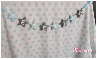 Banner cameretta in feltro con stelle e nome Federico