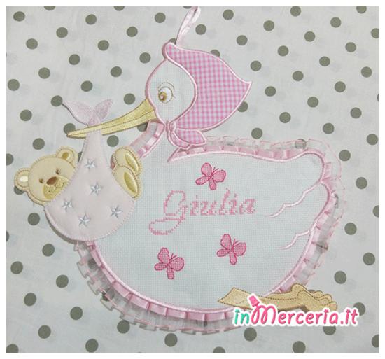 Fiocco nascita cicogna rosa per Giulia