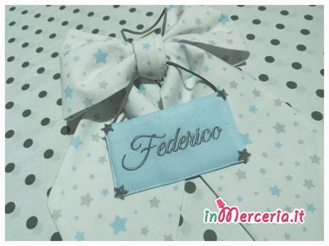 Fiocco nascita stellato con targhetta per Federico