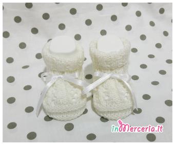 Scarpette neonato bianche con treccia