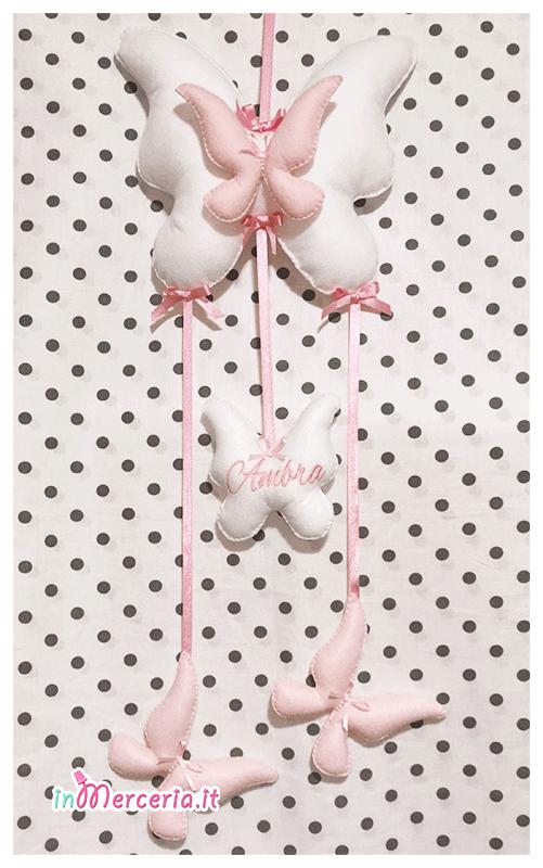 Fiocco nascita farfalla, sacchetto cuori e fiocco e con rose per Ambra