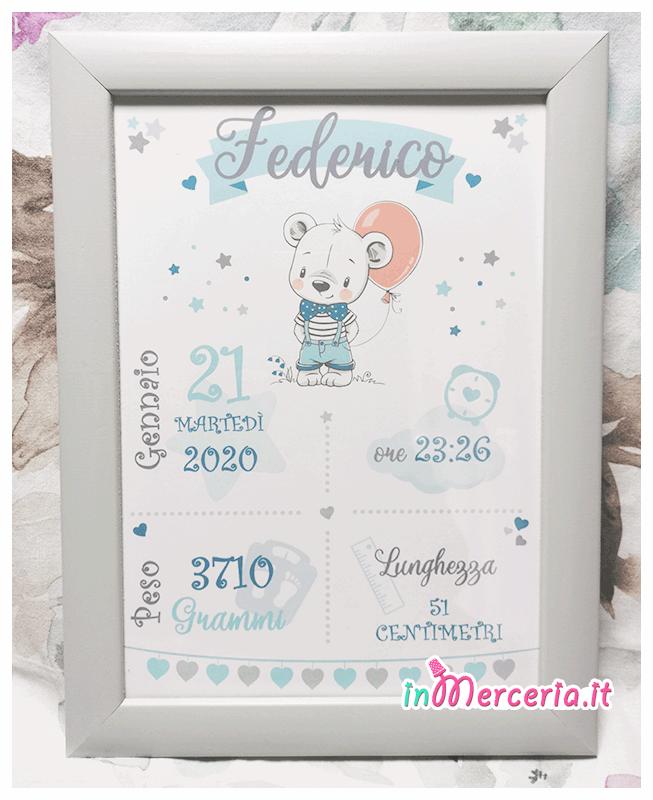 Poster quadretto nascita topolino con palloncino per Federico
