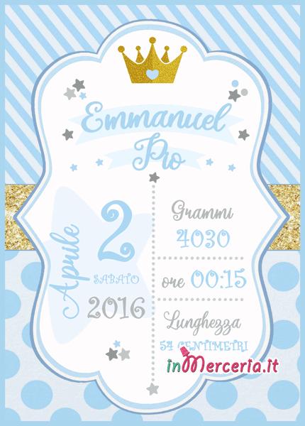 Poster quadretto nascita con corona per Emmanuel Pio e Dylan