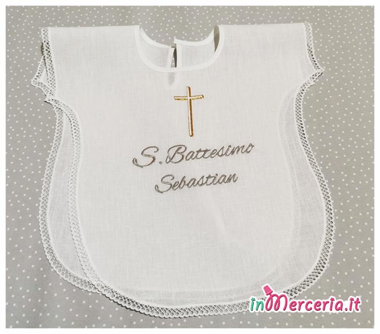 Camicina battesimo con croce per Sebastian