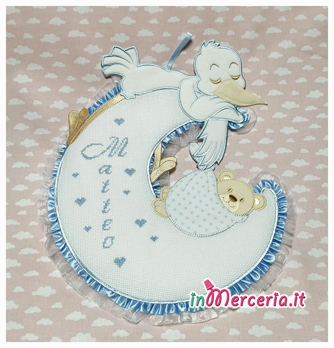 Fiocco nascita luna celeste con cicogna e orsetto per Matteo