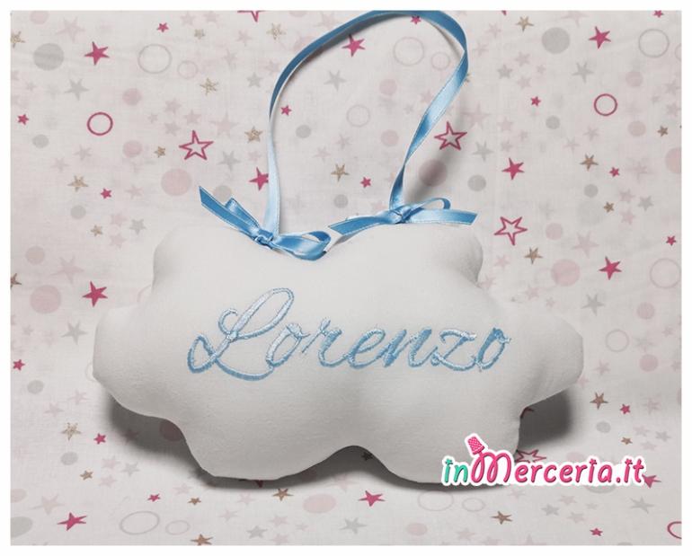 Fiocco nascita nuvoletta per Lorenzo