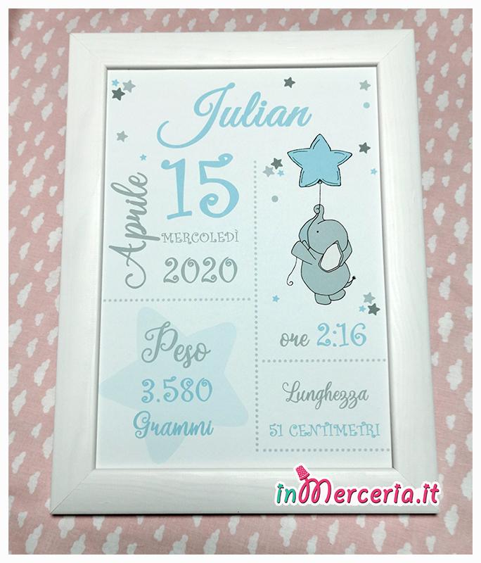 Poster quadretto nascita con elefante per Julian