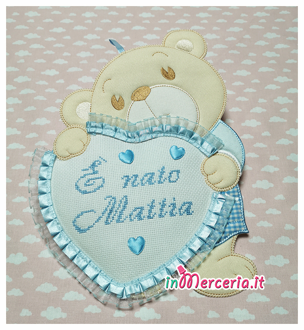 Fiocco nasicta orsetto con cuore È nato Mattia