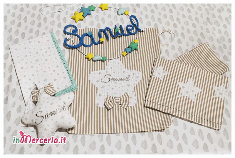 Set nascita - Sacchetto, lenzuolino, tovaglietta, stella e fiocco nascita per Samuel