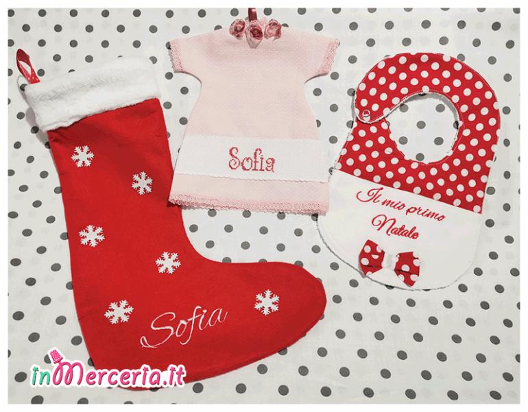 Set Natale - Bavetta, maglietta auto e calza della befana per Sofia