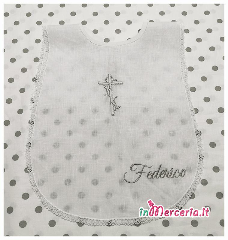 Camicina e asciugamano battesimo in cotone con croce per Federico