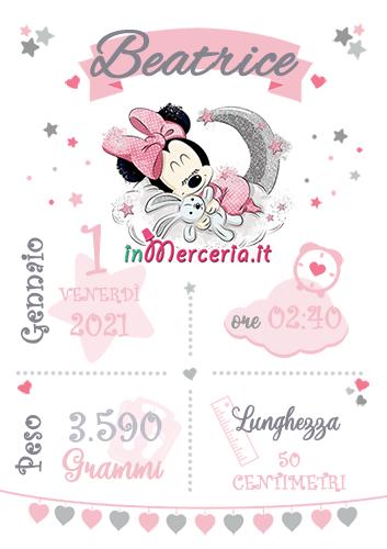 Poster quadretto nascita con Minnie per Beatrice