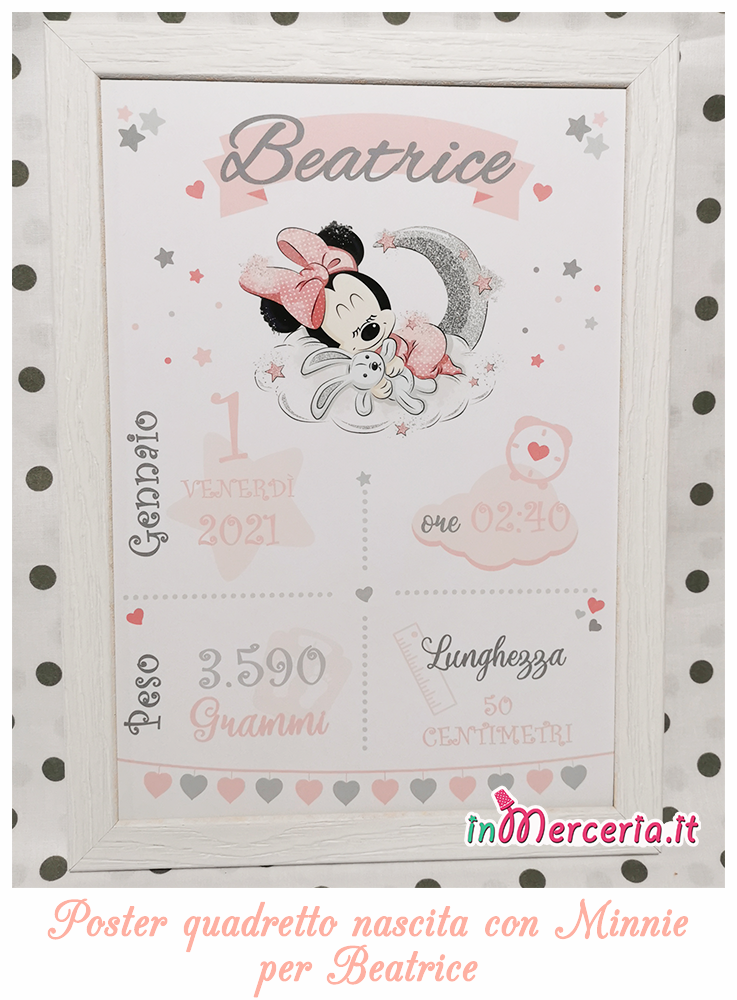 #Poster #quadretto nascita con #Minnie per #Beatrice