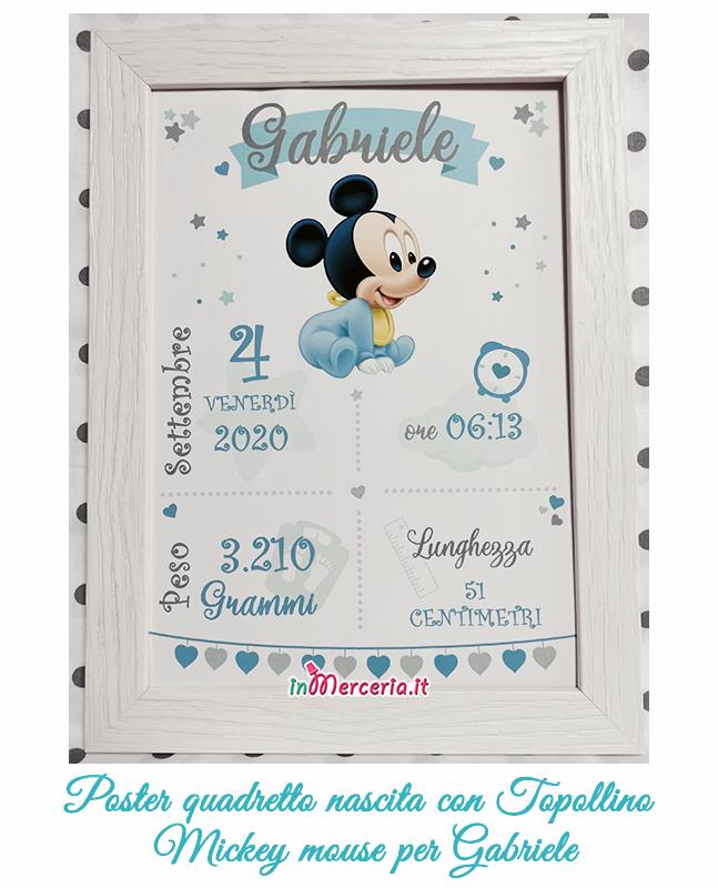 Poster quadretto nascita con Topolino Mickey mouse per Gabriele