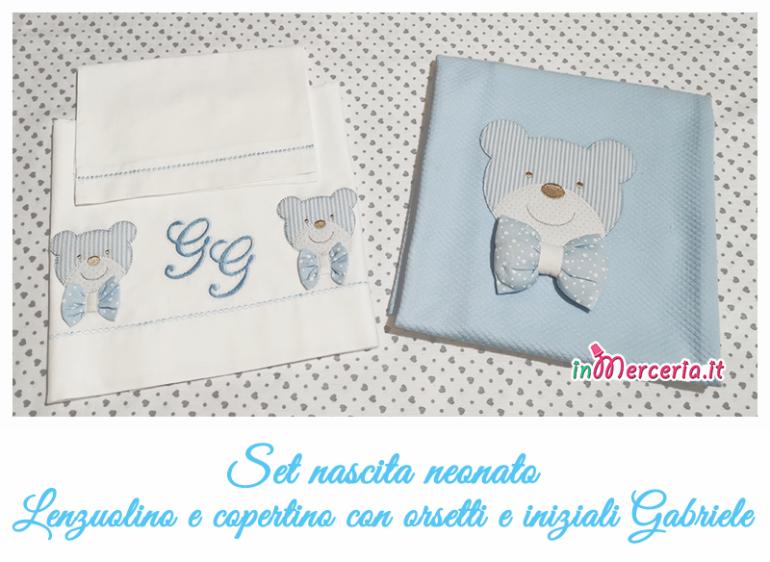 Set #nascita #neonato #Lenzuolino e #copertina con #orsetti e iniziali #Gabriele