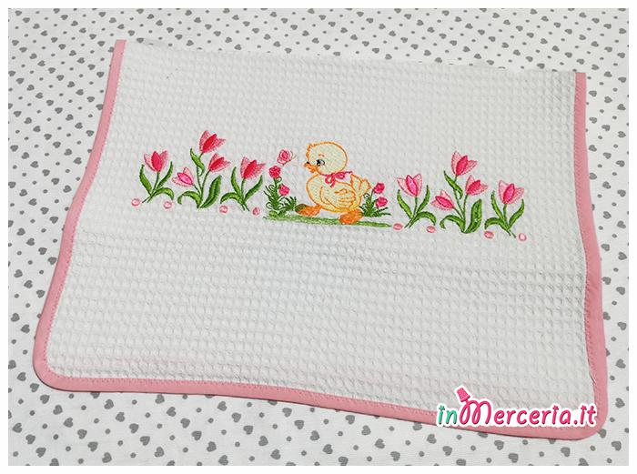 Coppia asciugamani in cotone nido d'ape con fiori e paperetta per Vittoria