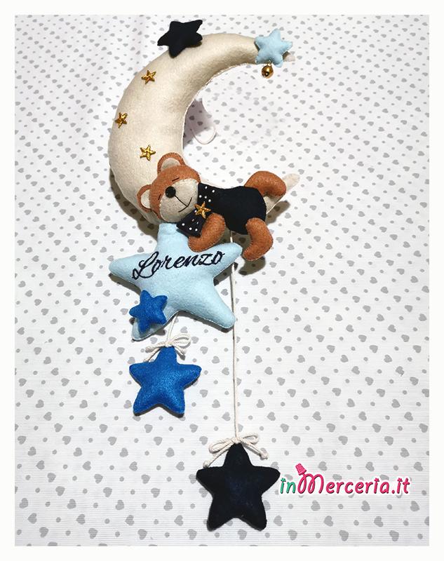 Fiocco nascita luna con orsetto e stelle pendenti per Lorenzo