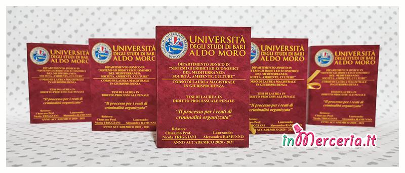 Bomboniere portaconfetti libro per Laurea Magistrale in Giurisprudenza del Dott. Alessandro Ramunno - Università Aldo Moro Bari