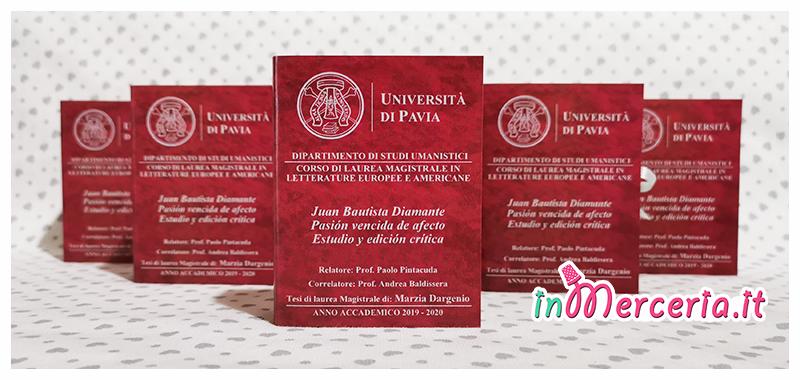 Bomboniere portaconfetti libro per Laurea Magistrale in Letterature Europee e Americane del Dott.ssa Marzia Dargenio - Università di Pavia