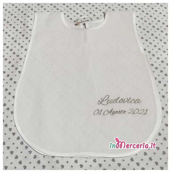 Camicina battesimo in cotone e asciugamano in lino con macramè per Ludovica