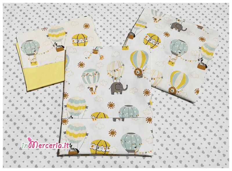 Set nascita - Lenzuolino, accappatoio, asciugamano e quadrato di garza con elefante e leoni