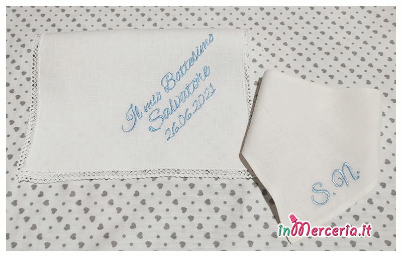 Asciugamano e bavetta bandana in lino per il Battesimo di Salvatore